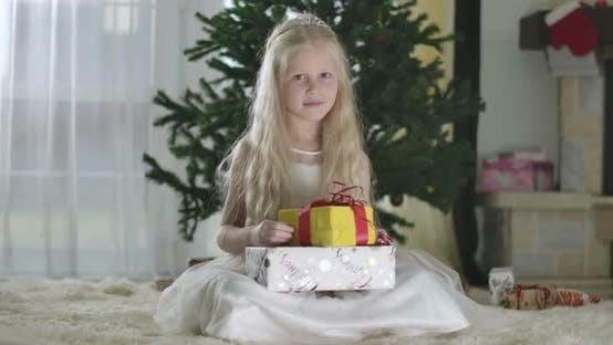 Thumbnail for Porträt von hübschen blonden kaukasischen Mädchen mit grauen Augen in weißem Kleid und Krone sitzt an der
