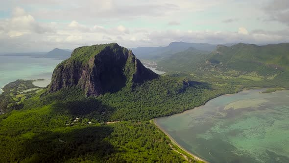 Thumbnail for Aerial view of Lemorne Brabant and coral reefs in Mauritius.