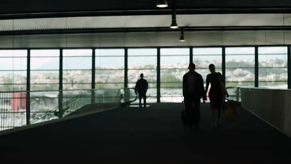 Thumbnail for Silhouette of Couple Carrying Luggage in Airport Hall, Tourism, Business Trip