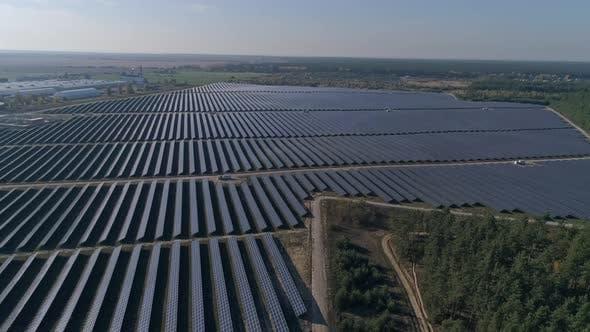 Thumbnail for Flight Over Solar Panel Farm. Renewable Green Alternative Energy