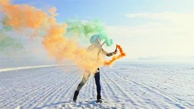 Woman with Colorful Smoke Bombs