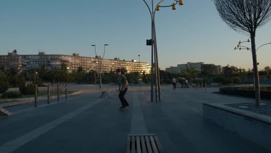 Thumbnail for Stunning Balance and Tricks By a Skater Boy, Sliding on a Bench,