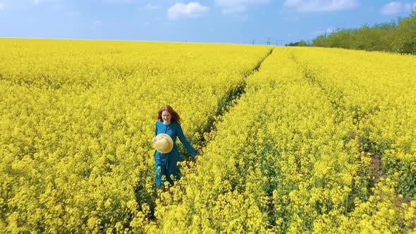 Thumbnail for Happy Girl Enjoying At The Rapeseed Field 5