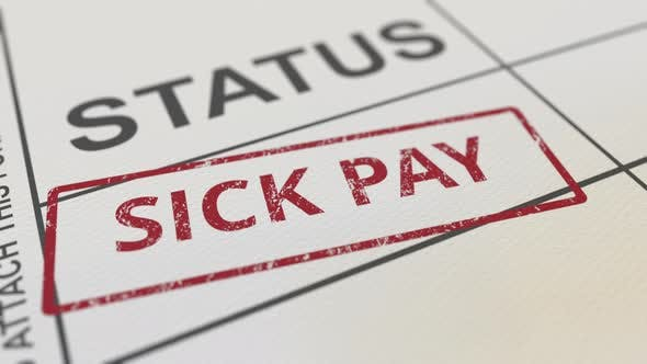 Putting Red SICK PAY Rubber Stamp on Paper Form