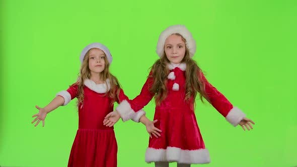 Thumbnail for Children in Red New Year Costumes Are Dancing. Green Screen