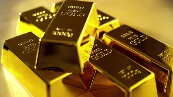 Close up of gold bars. Financial concepts