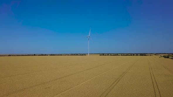Thumbnail for Aerial View of Windmill Rotating By the Force of the Wind and Generating Renewable Energy.