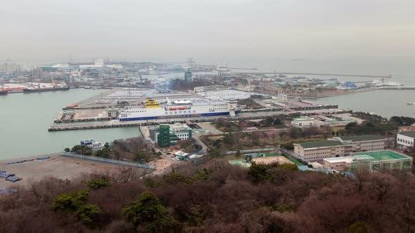 Timelapse Modern Passenger Ship Stops in Incheon Lock