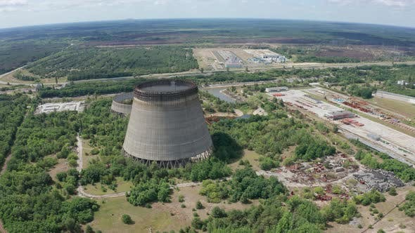 Thumbnail for Aerial View of Giant Cooling Towers Near Chernobyl