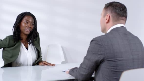 Thumbnail for Cheerful Black Woman Having Job Interview