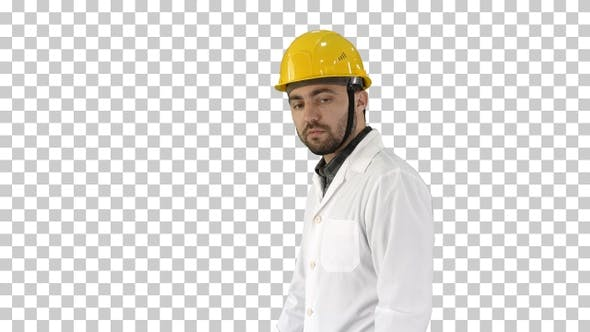 Thumbnail for Unhappy construction site engineer talking, Alpha Channel
