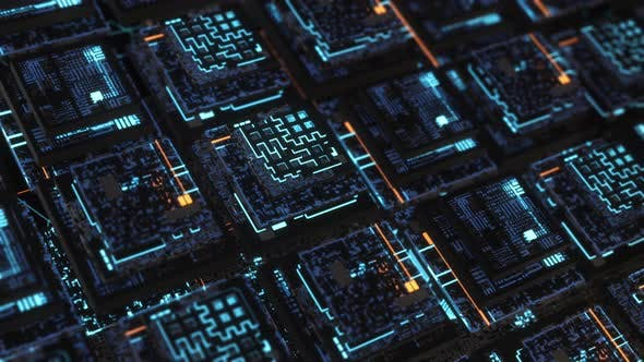 Beautiful 3D neon boards in computer cyber space