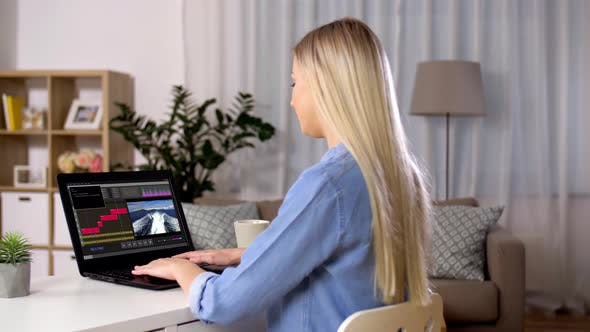 Thumbnail for Woman with Video Editor Program on Laptop at Home 25
