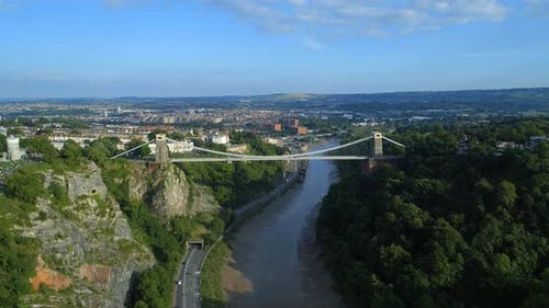 High Level Aerial View of Clifton Suspension Bridge and Bristol City