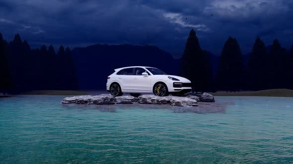 Thumbnail for White Luxury Off-Road Vehicle Standing on Rocks in the Evening