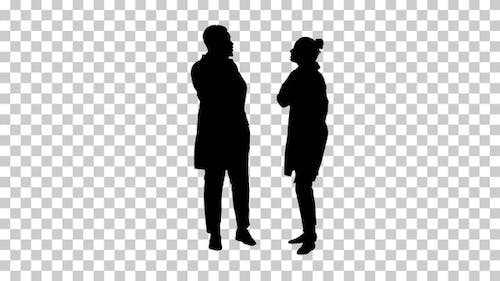 Silhouette Female and male doctor, Alpha Channel