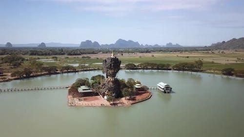 Aerial orbitting Kyauk Ka Lat Pagoda in Hpa-An Myanmar