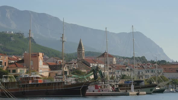 Thumbnail for Ships with masts in Makarska seaport
