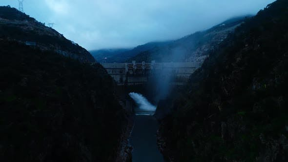 Thumbnail for Aerial Flying Over Dam in the Mountain