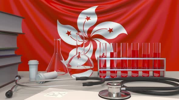 Thumbnail for Clinic Laboratory Equipment on Flag of Hong Kong Background