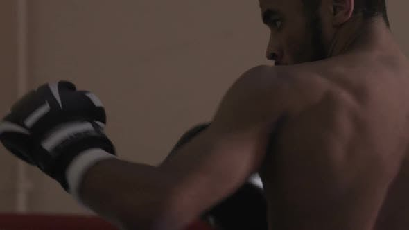 Thumbnail for Wrestler Exercising with His Coach Heavy Blow from Elbow After Turning Body