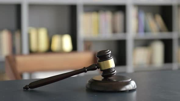 Thumbnail for Close Up of Gavel on Lawyer Court Room Table