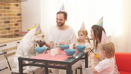 Beautiful Happy Family Celebrating Birthday