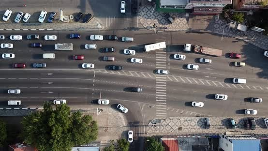 Thumbnail for Top Down View of Freeway Busy City Rush Hour Heavy Traffic Jam Highway