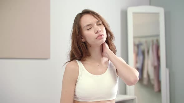 Thumbnail for Young Woman Feeling Neck Pain. Female Healthcare. Female Skeleton Problem