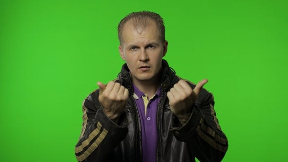 Rocker Man Asking To Subscribe, Trying To Control, Pointing Fingers Down. Chroma Key Background
