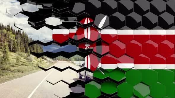 Kenya Flag Hexagon Transition - 4K Resolution