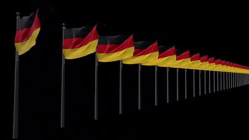 Row Of Germany Flags With Alpha 2K