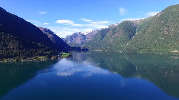 Thumbnail for Sognefjorden fjord in norway, aerial footage