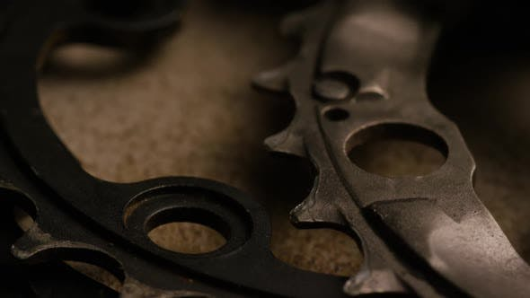 Thumbnail for Cinematic, rotating shot of gears