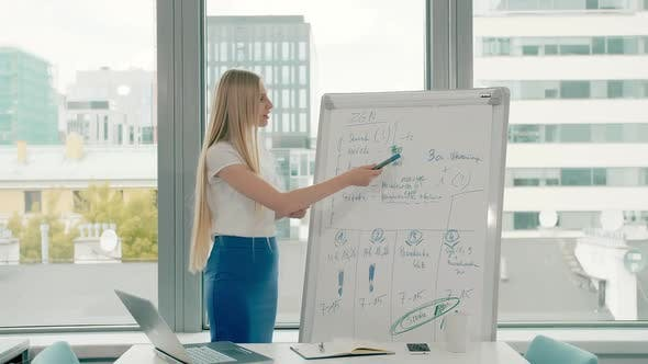Thumbnail for Business Woman Making Presentation on Whiteboard. Young Stylish Woman with Long Blond Hair Writing