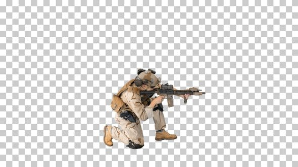 Thumbnail for Soldier sits down for aiming and shooting with rifle, Alpha Channel