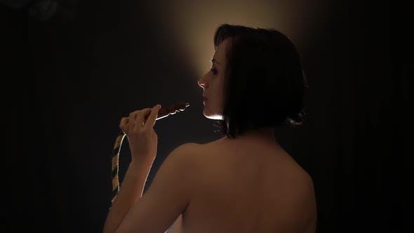 Thumbnail for Beautiful, Naked Woman Smoking Hookah. Attractive Girl Smoking Flavored Tobacco