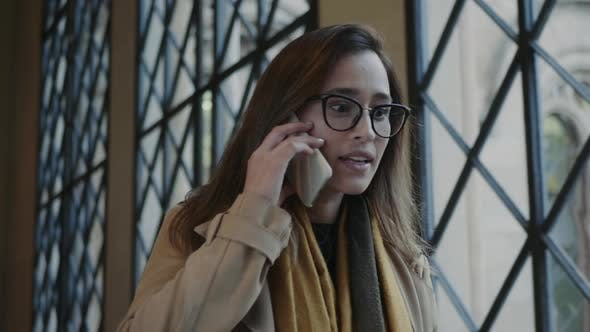 Thumbnail for Serious Student Talking on phone.Businesswoman Having Conversation on Smartphone