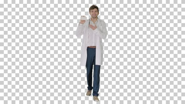 Walking Male Doctor showing empty white box of pills, Alpha Channel