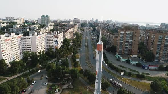Top View of the Highway with a High Landmark