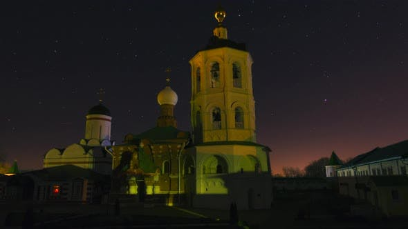 Thumbnail for Beautiful Russian Monastery, Church at Night, Qualitative Time Lapse, No Flicker