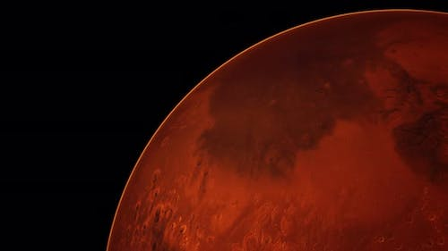 Red Planet Mars in the Starry Sky