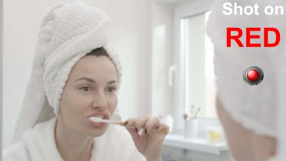 Brushing Teeth Woman