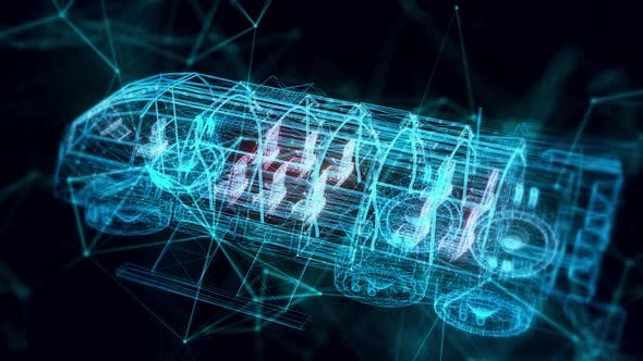 Futuristic Transport Shuttle Hologram Close Up Hd