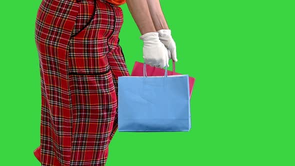 Thumbnail for Hands of Walking Clown with Shopping Bags on a Green Screen Chroma Key