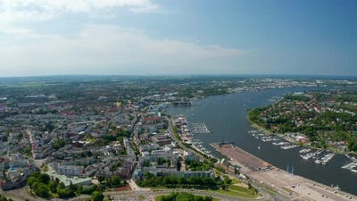 Aerial Panoramic View of Town on Riverside of Unterwarnow River