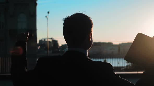 Thumbnail for Businessman Outdoors Sunset Joy Success