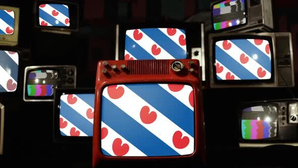 Thumbnail for Flag of Friesland, province of the Netherlands, and Retro TVs.
