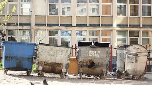 Schmutziger Müllcontainer