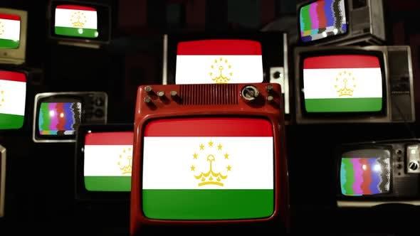 Tajikistan flag on a Retro TV Wall.